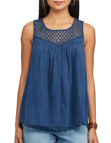 Chaps Lace-Trim Sleeveless Top-BLUE-Small 89221354_BLUE_Small