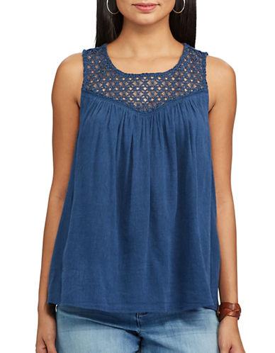 Chaps Lace-Trim Sleeveless Top-BLUE-X-Large 89221357_BLUE_X-Large