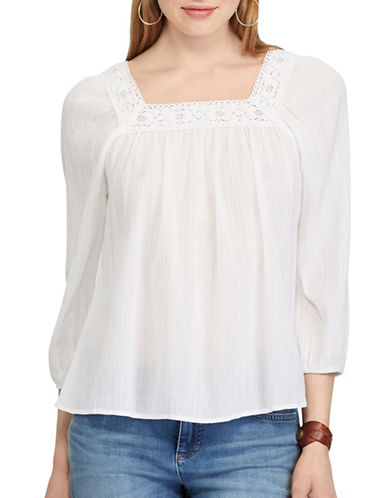 Chaps Smocked Cotton-Blend Top-WHITE-X-Small 89221358_WHITE_X-Small