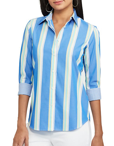 Chaps Striped Broadcloth Shirt-BLUE MULTI-Medium