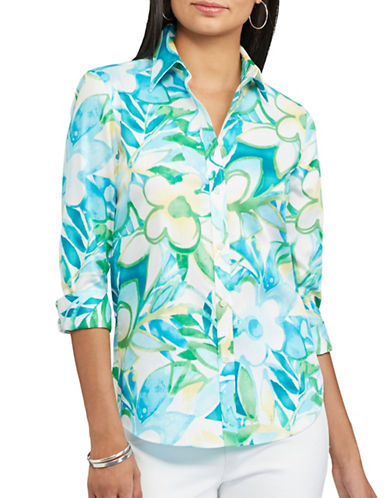 Chaps Floral Sateen Shirt-MULTI-Small