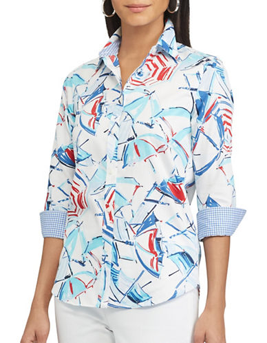 Chaps Chatter Printed Sateen Shirt-MULTI-Small