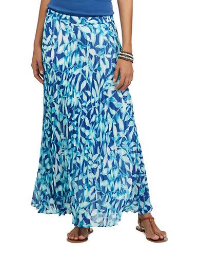 Chaps Pleated Leaf-Printed Skirt-BLUE MULTI-X-Large