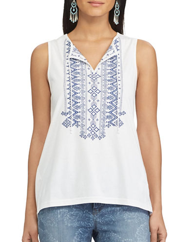 Chaps Embroidered Tie-Up Top-WHITE-Small 89178399_WHITE_Small