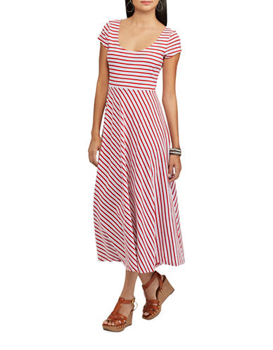 Chaps Striped Jersey Dress-RED-Large