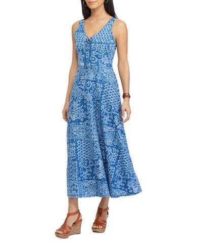 Chaps Petite Patchwork Print Jersey Dress-BLUE MULTI-Petite Large