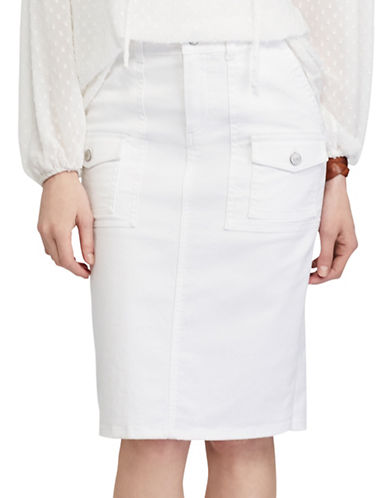 Chaps Petite Stretch Denim Straight Skirt-WHITE-Petite 16