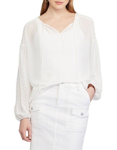 Chaps Petite Swiss Dot Jacquard Top-WHITE-Petite Medium