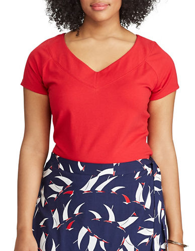 Chaps Plus Stretch Cotton V-Neck Tee-RED-2X