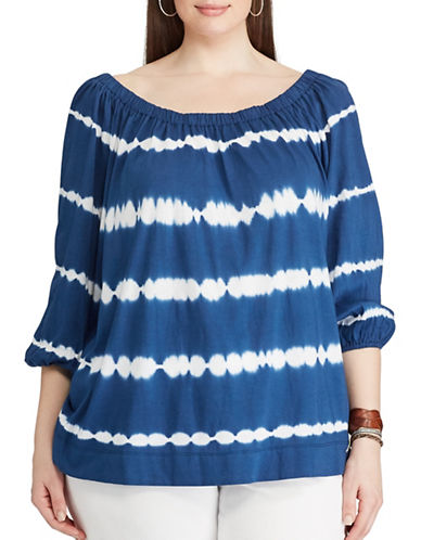 Chaps Plus Tie-Dye Off-the-Shoulder Top-BLUE/WHITE-3X