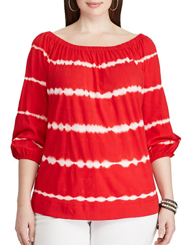 Chaps Plus Tie-Dye Off-the-Shoulder Top-RED/WHITE-3X