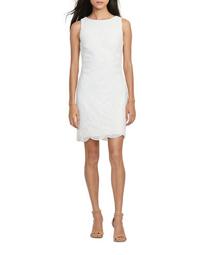 Lauren Ralph Lauren Lace Sleeveless Sheath Dress-WHITE-10