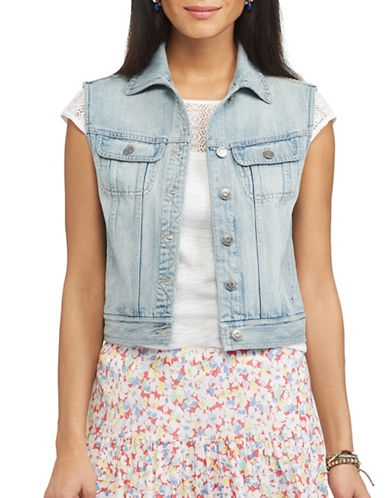Chaps Beckie Denim Vest-BLUE-Large