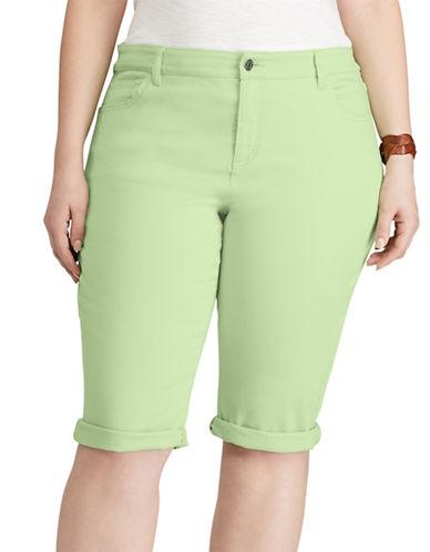 Chaps Plus Stretch Cotton Five-Pocket Short-GREEN-18W 89181485_GREEN_18W