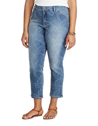 Chaps Plus Tropical-Print Stretch Capri Pants-BLUE-16W 89181504_BLUE_16W