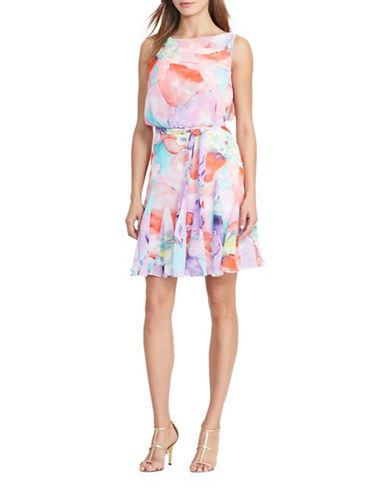 Lauren Ralph Lauren Floral Fit-and-Flare Georgette Dress-PINK ORANGE-12