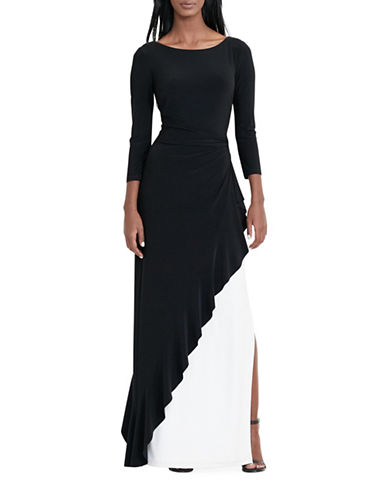 Lauren Ralph Lauren Two-Tone Jersey Gown-BLACK-6