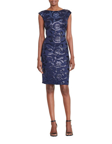 Lauren Ralph Lauren Sequined Floral Dress-BLUE-4