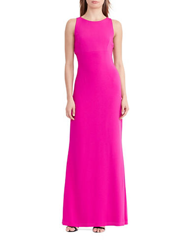 Lauren Ralph Lauren Cut-Out Back Crepe Gown-PINK-18