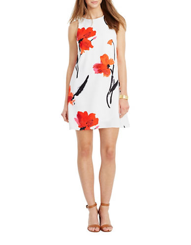 Lauren Ralph Lauren Floral Crepe Dress-WHITE/RED-12