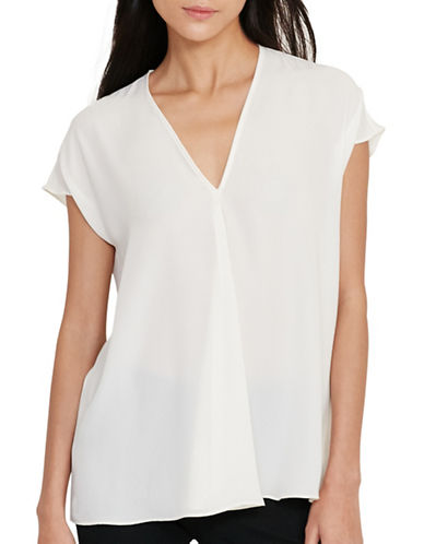 Lauren Ralph Lauren Georgette Short Sleeve Top-WHITE-Medium 89063629_WHITE_Medium