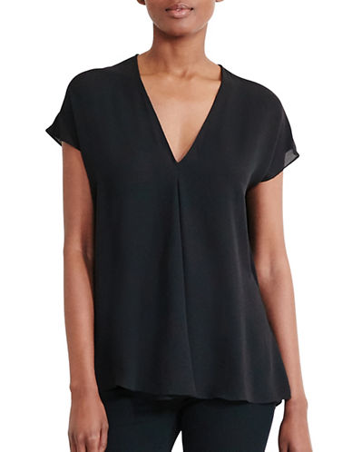 Lauren Ralph Lauren Georgette Short Sleeve Top-BLACK-X-Small 89209185_BLACK_X-Small