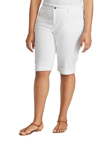 Chaps Plus Stretch Cotton Five-Pocket Shorts-WHITE-16W 89217391_WHITE_16W