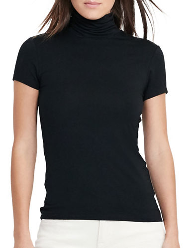 Lauren Ralph Lauren Jersey Short-Sleeve Turtleneck-BLACK-X-Large 88933200_BLACK_X-Large