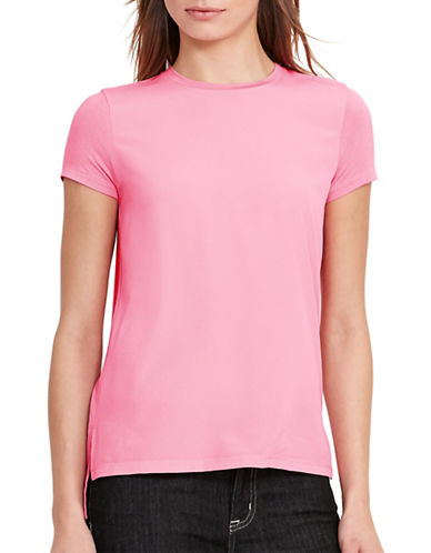 Lauren Ralph Lauren Crepe-Front Jersey T-Shirt-PINK-Large 88933212_PINK_Large
