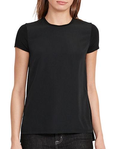 Lauren Ralph Lauren Crepe-Front Jersey T-Shirt-BLACK-X-Small 88933221_BLACK_X-Small