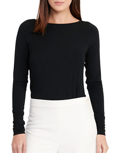 Lauren Ralph Lauren Cowl-Back Jersey Tee-BLACK-X-Large 88933230_BLACK_X-Large