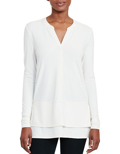 Lauren Ralph Lauren Layered Jersey Top-WHITE-Medium 88933243_WHITE_Medium