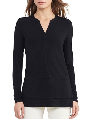 Lauren Ralph Lauren Layered Jersey Top-BLACK-Medium 88933248_BLACK_Medium