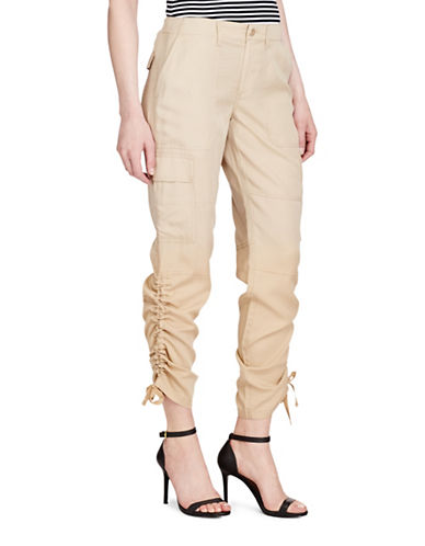 Lauren Ralph Lauren Twill Cargo Jogger Pants-PALE WHEAT-14