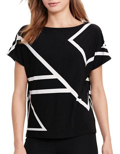 Lauren Ralph Lauren Geometric-Print Jersey Top-BLACK-Medium 88933417_BLACK_Medium
