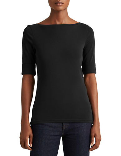 Lauren Ralph Lauren Stretch-Cotton Bateau Tee-BLACK-Large 88933426_BLACK_Large