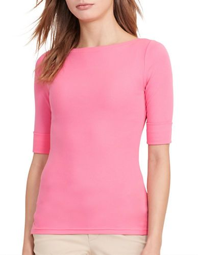 Lauren Ralph Lauren Stretch-Cotton Bateau Tee-PINK-Large 88933436_PINK_Large