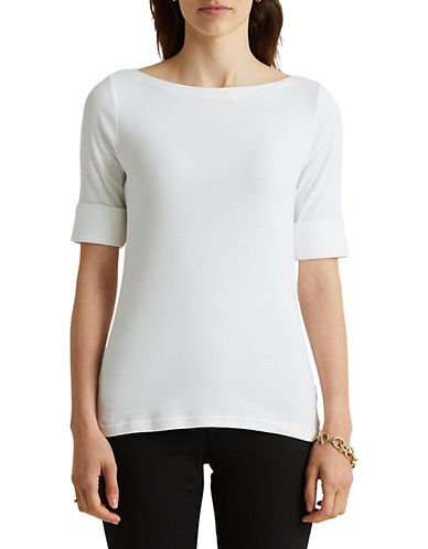 Lauren Ralph Lauren Stretch-Cotton Bateau Tee-WHITE-Large 88933441_WHITE_Large