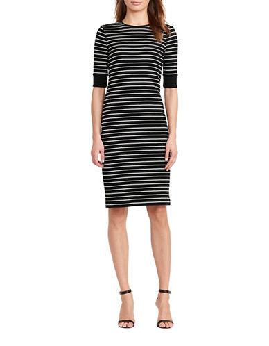 Lauren Ralph Lauren Striped Cotton Sheath Dress-BLACK-Medium 88933457_BLACK_Medium