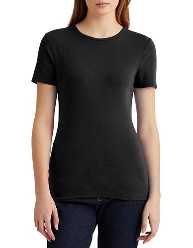 Lauren Ralph Lauren Short-Sleeve Crew Neck Tee-BLACK-X-Small 90089346_BLACK_X-Small