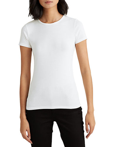 Lauren Ralph Lauren Short-Sleeve Crew Neck Tee-WHITE-Medium 90089348_WHITE_Medium
