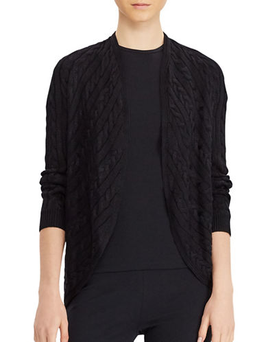 Lauren Ralph Lauren Cable-Knit Open-Front Cardigan-BLACK-Small/Medium 88933464_BLACK_Small/Medium