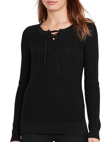 Lauren Ralph Lauren Cotton-Blend Lace-Up Sweater-BLACK-X-Small 88933479_BLACK_X-Small