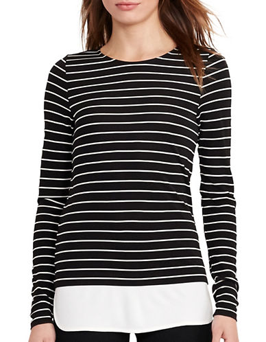 Lauren Ralph Lauren Striped Jersey Top-BLACK-X-Small 88933533_BLACK_X-Small