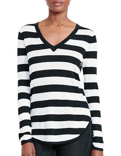 Lauren Ralph Lauren Striped Silk-Blend Sweater-BLACK-Medium 88933561_BLACK_Medium