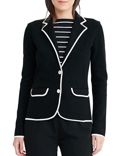 Lauren Ralph Lauren Stretch Cotton Sweater Blazer-BLACK-Large 88933573_BLACK_Large