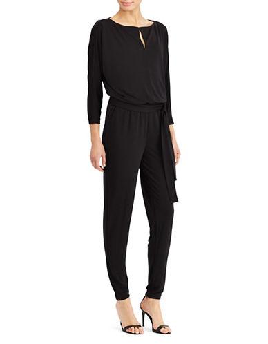 Lauren Ralph Lauren Petite Jersey Keyhole Jumpsuit-BLACK-Petite Small
