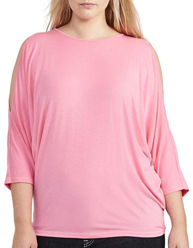 Lauren Ralph Lauren Plus Cutout-Shoulder Jersey Top-PINK-1X