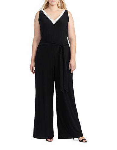 Lauren Ralph Lauren Plus Jersey Wide-Leg Jumpsuit-BLACK-1X 88967642_BLACK_1X