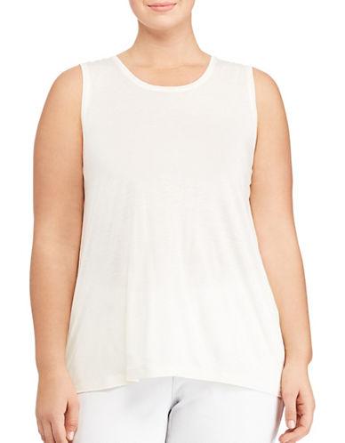Lauren Ralph Lauren Plus Jersey Tank Top-WHITE-1X 89072172_WHITE_1X